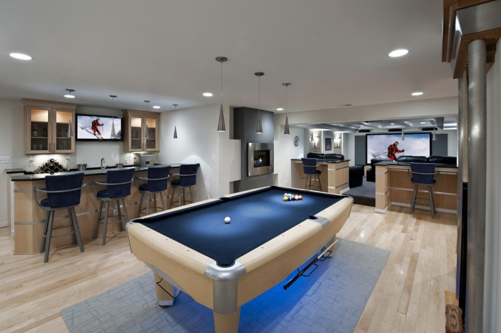 poolside basement kitchen