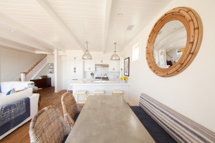 decorative white basement kitchen