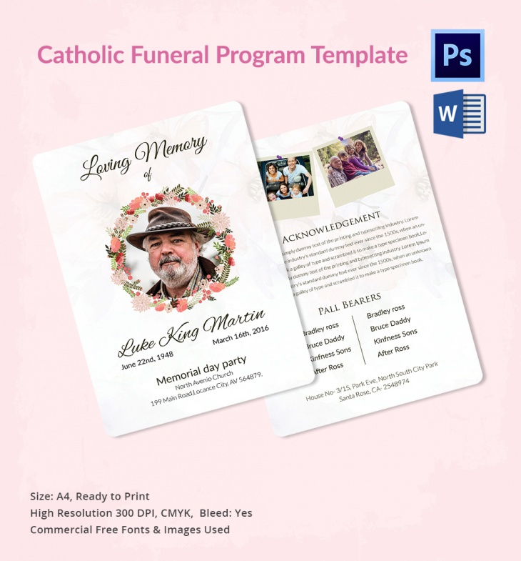 Catholic Funeral Program  CanelovssmithliveCo