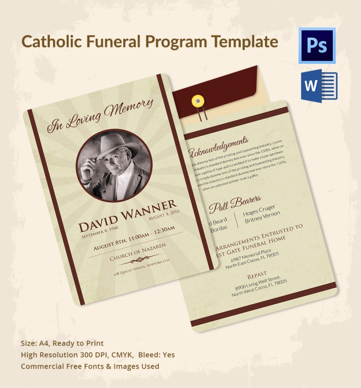 5 Catholic Funeral Template Free Word PDF PSD Documents – Catholic Funeral Program