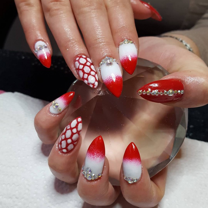 white and red stiletto nails