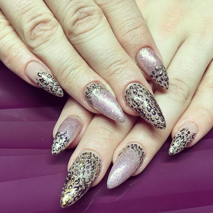 leopard print stiletto nail design