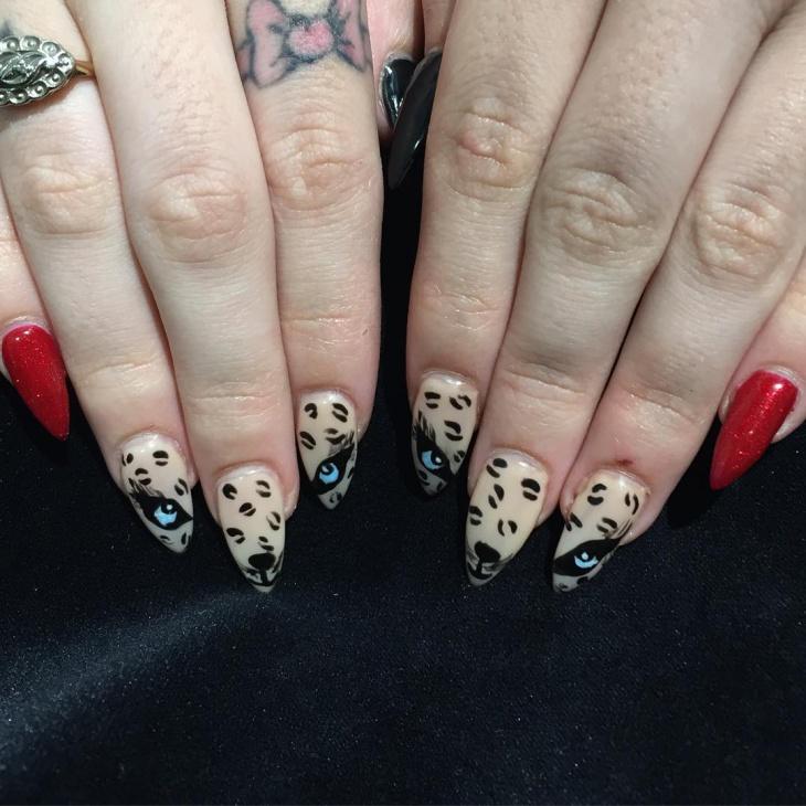animal print teal stiletto nails