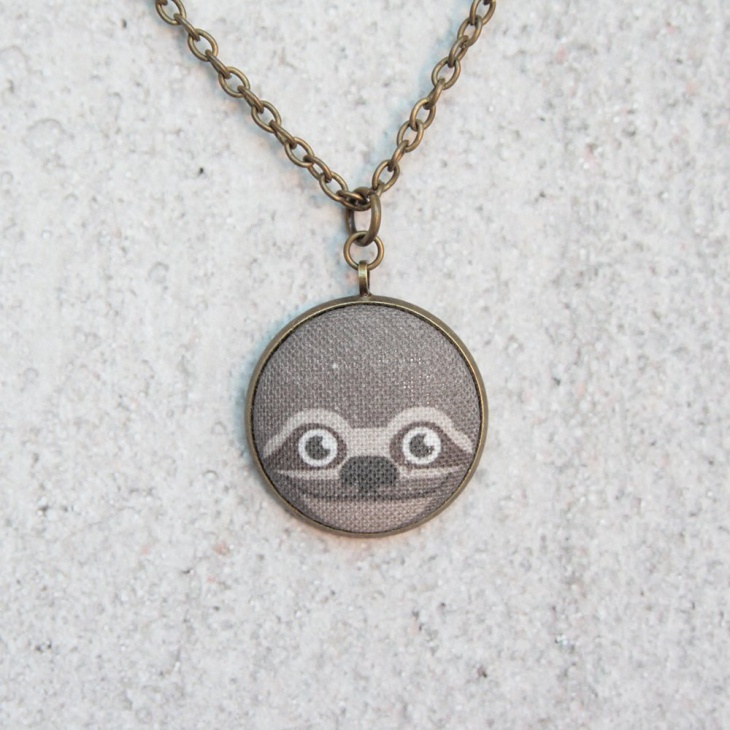 fabric button necklace1