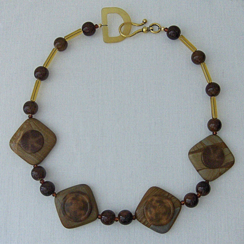 beads and button necklace