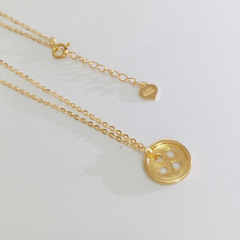 gold button pendant necklace