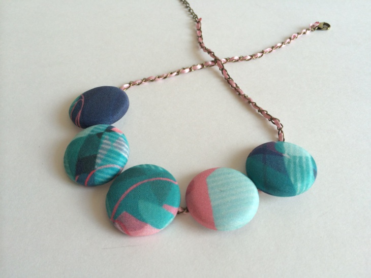 handcrafted fabric button necklace
