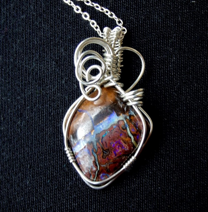 wire wrapped opal pendant