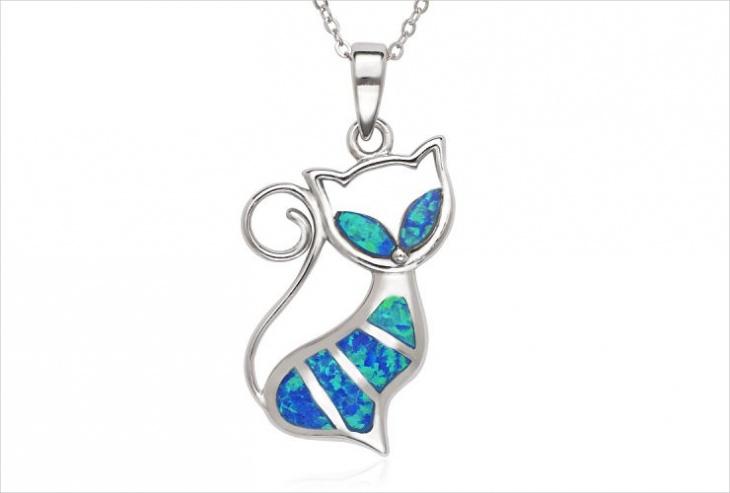 opal cat pendant design