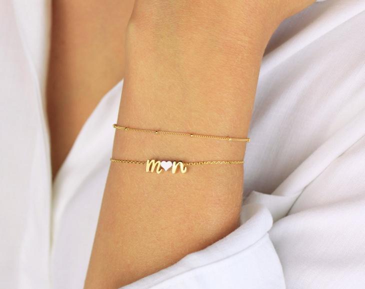 monogram heart bracelet