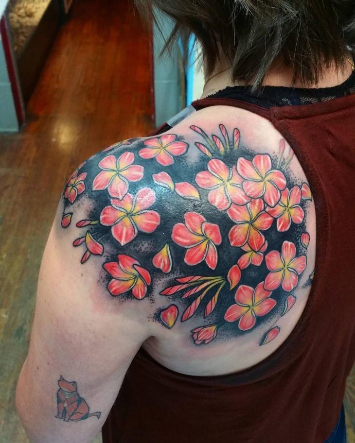 shoulder flower tattoo design