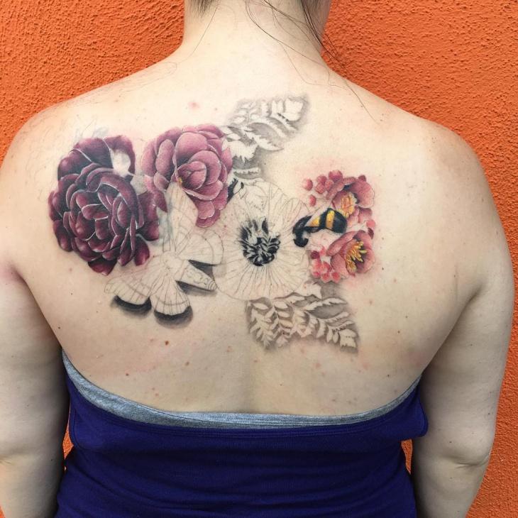 flower tattoo on back