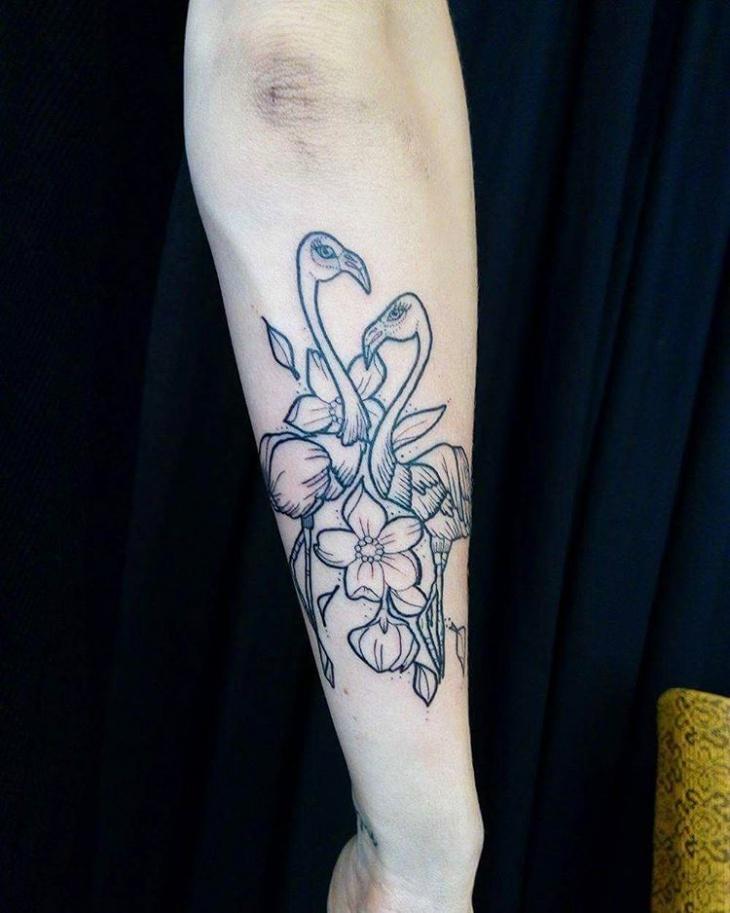 black work flamingo tattoo