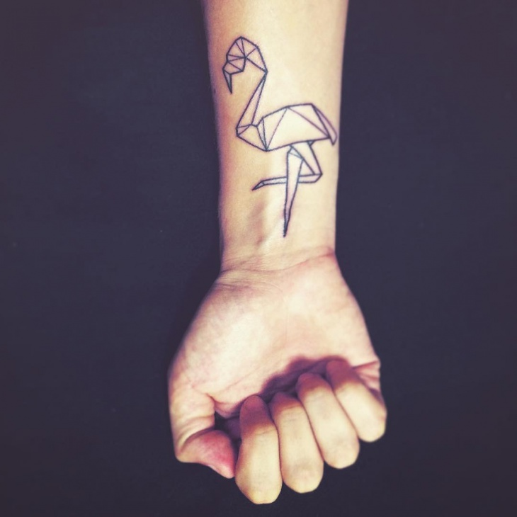 flamingo wrist tattoo