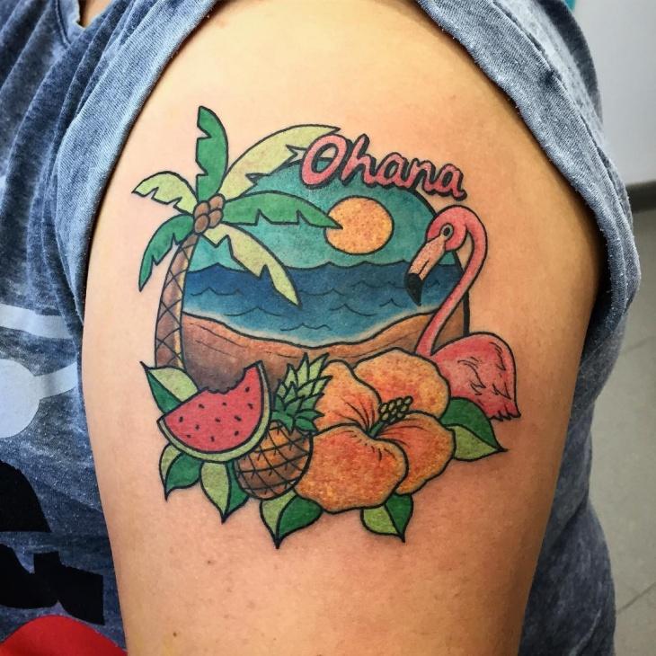 flamingo shoulder tattoo design