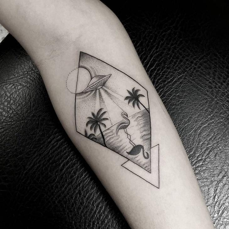flamingo tattoo on forearm