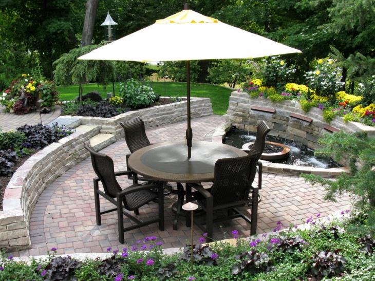 Backyard Patio Design with Water Feature