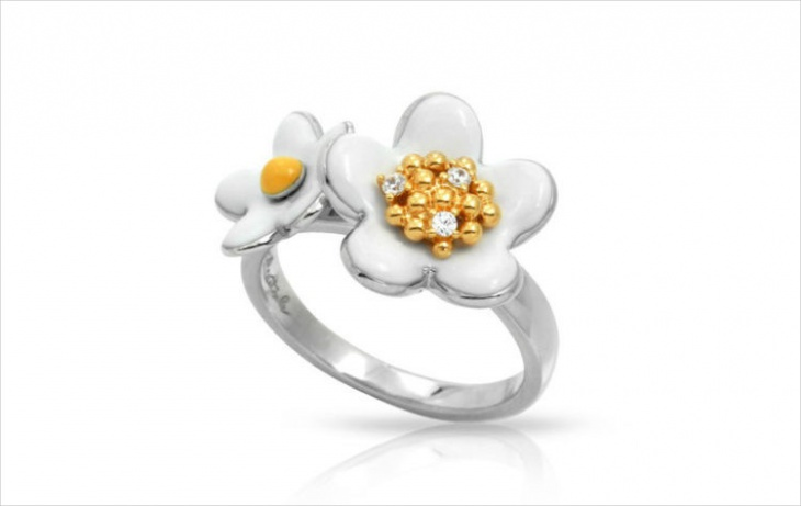 White and Gold Daisy Ring