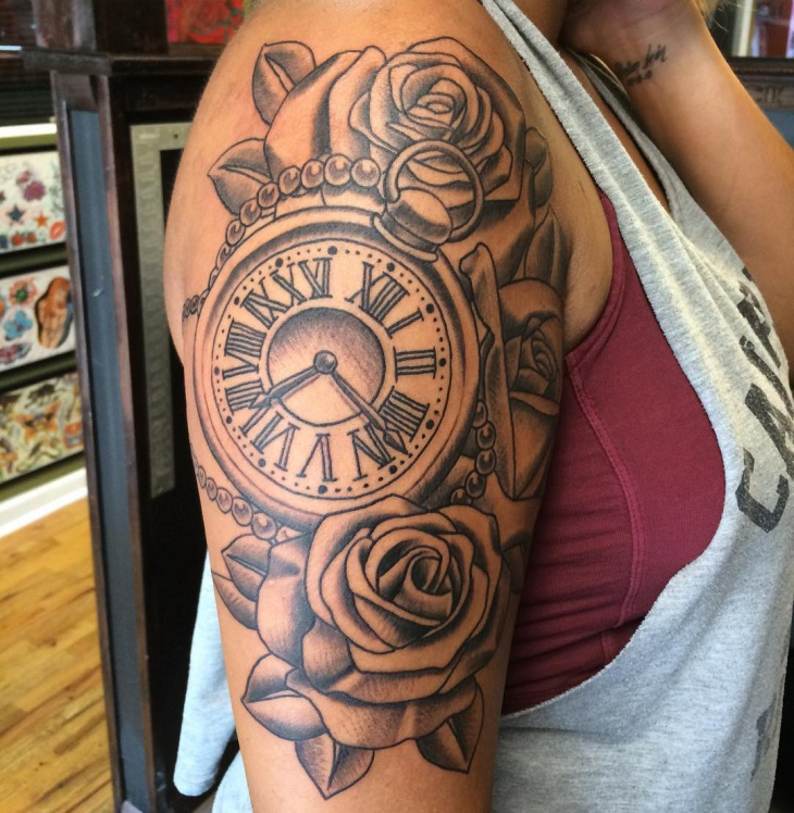 Half Sleeve Pocket Watch Tattoo