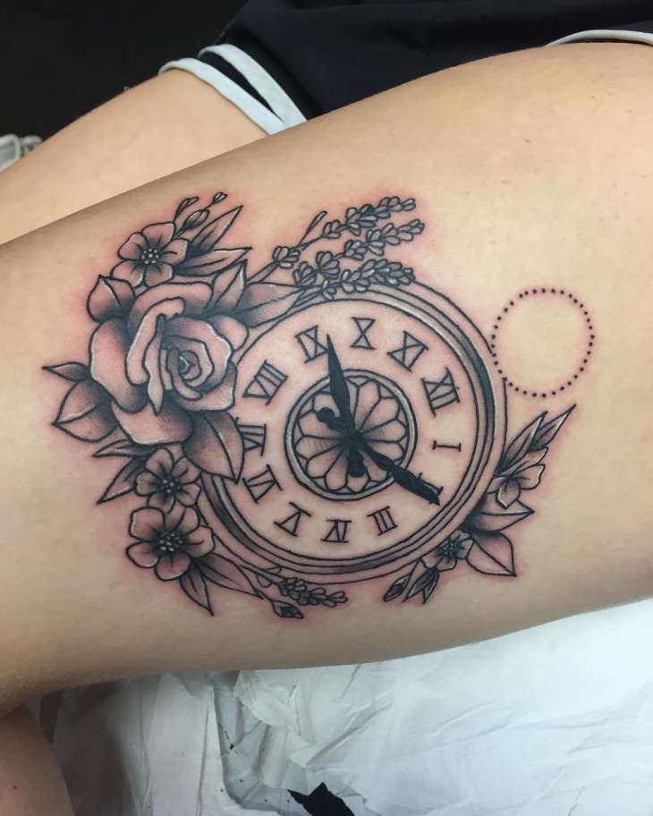 Floral Pocket Watch Tattoo