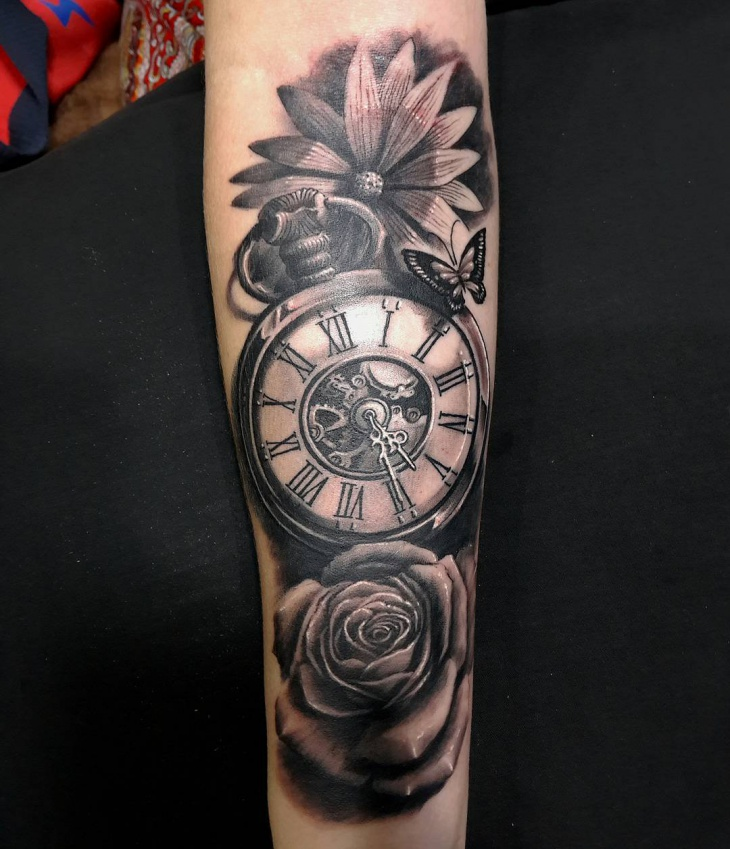 Realistic pocket watch tattoo for Pocket watches tattoos