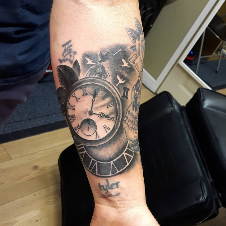 Black and Gray Pocket Watch Tattoo