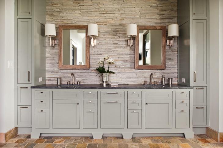 gray rustic bathroom vanity
