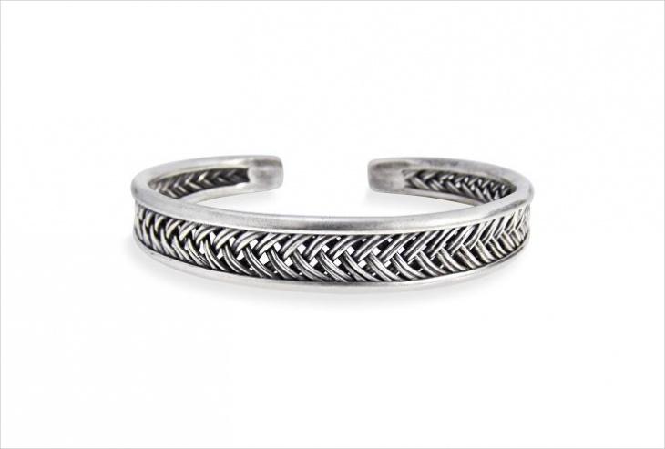 silver braided cuff bracelet