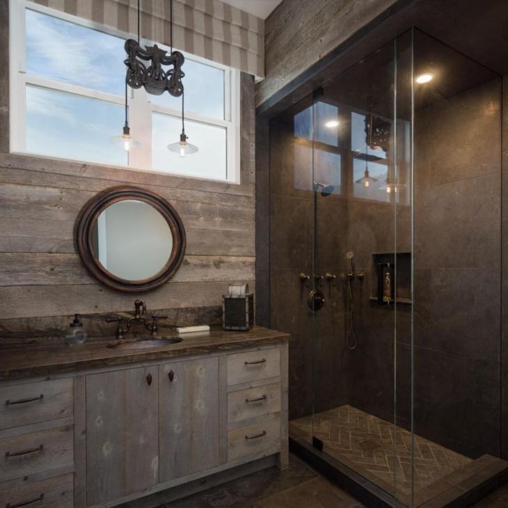 rustic bathroom vanity wall mirror idea
