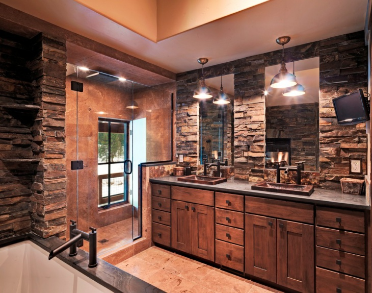 Rustic Stone Bathroom Vanity Design