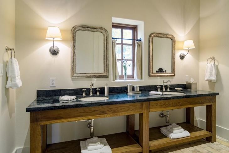 black countertop rustic bathroom vanity