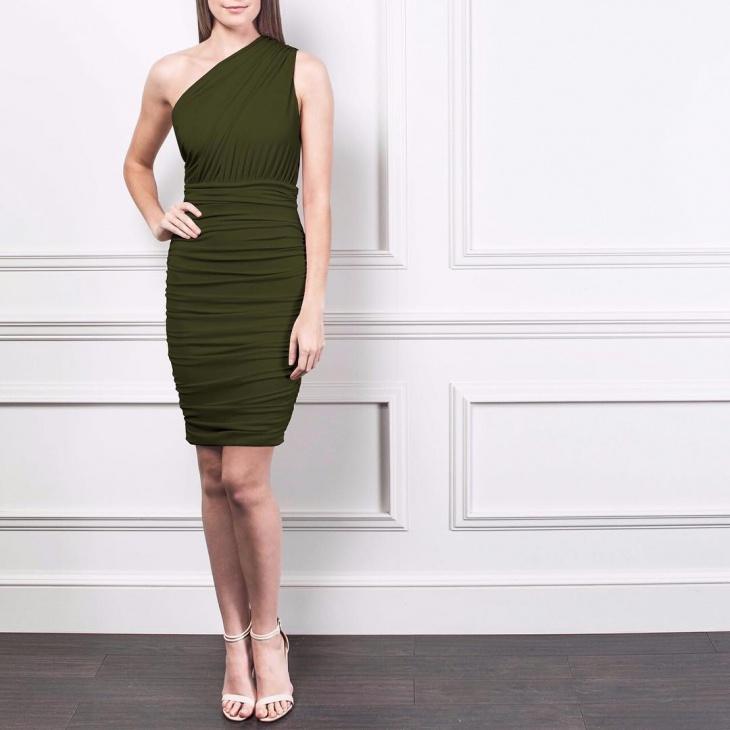 One Shoulder Ruched Dress