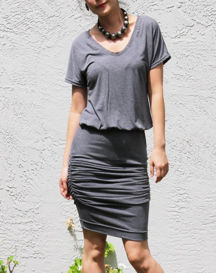 V Neck Ruched Dress