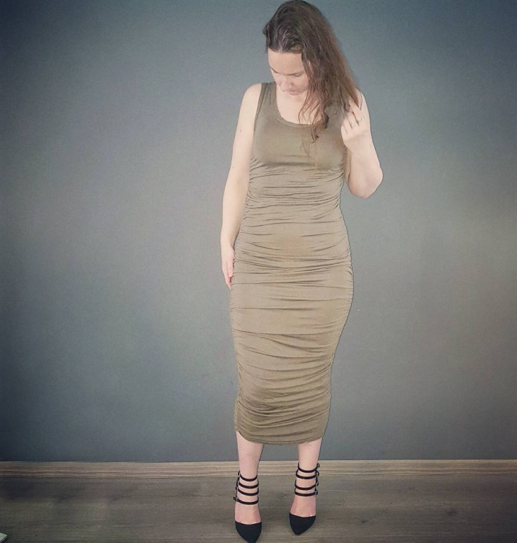 Ruched Sleeve Less Dress