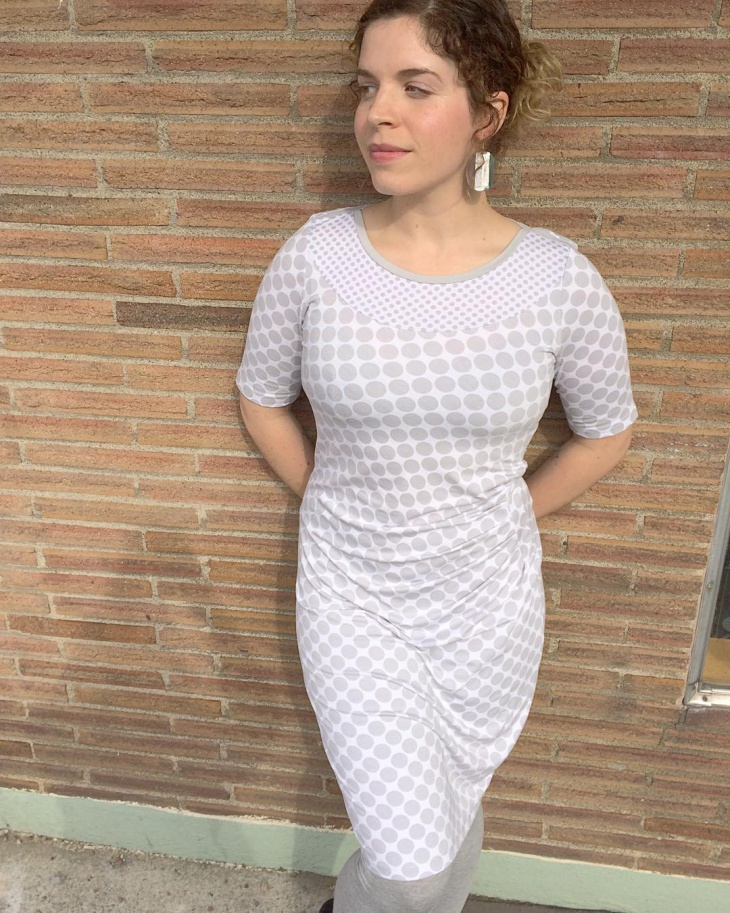 gray and white ruched dress