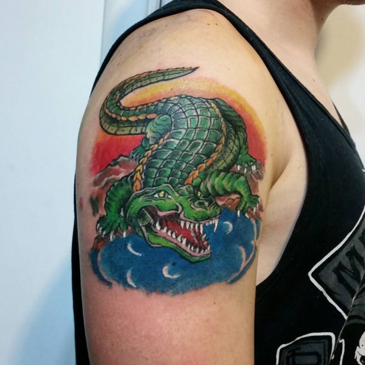 Realistic Crocodile Tattoo Idea