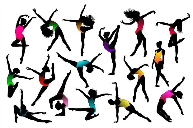 Set of Ballet Dancing Girls Vector