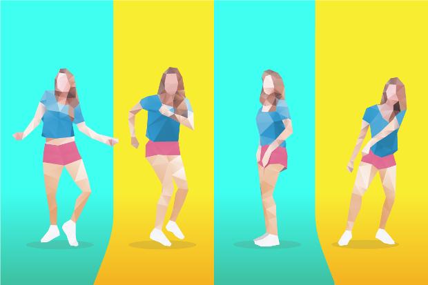 Vector Low Poly Dancing Girl