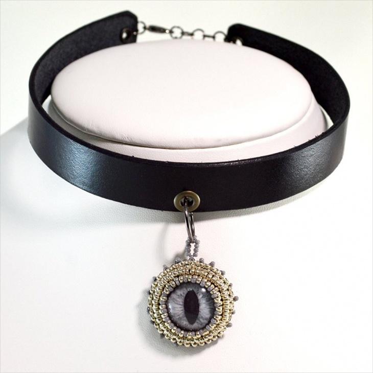 gothic leather necklace idea
