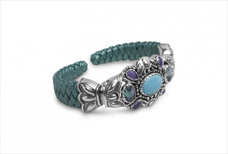 leather and gemstone cuff bracelet