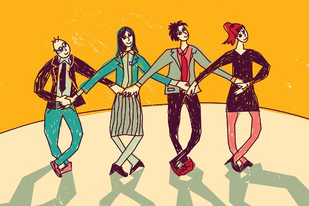 Business Team Dance Vector