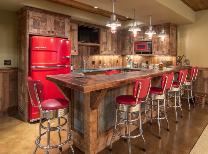 rustic home bar red chair idea