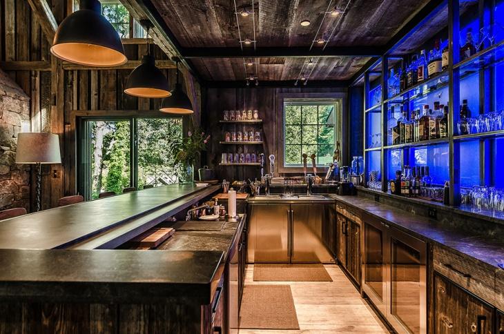 rustic home bar lighting idea