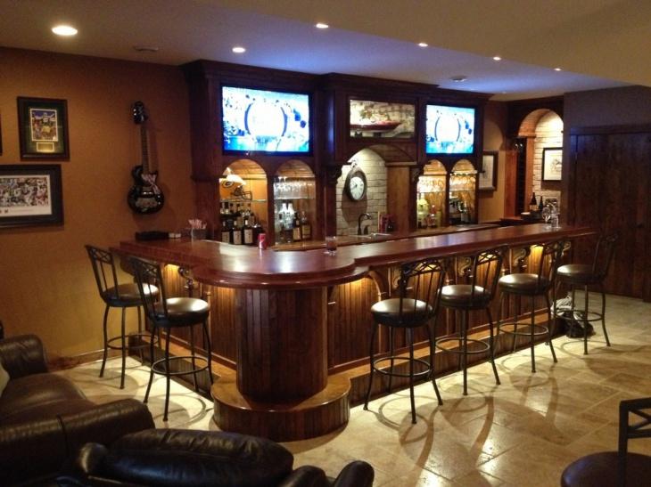 dark rustic home bar design