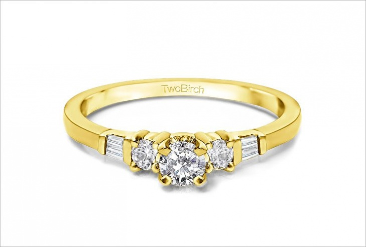 Three Stone Delicate Engagement Ring