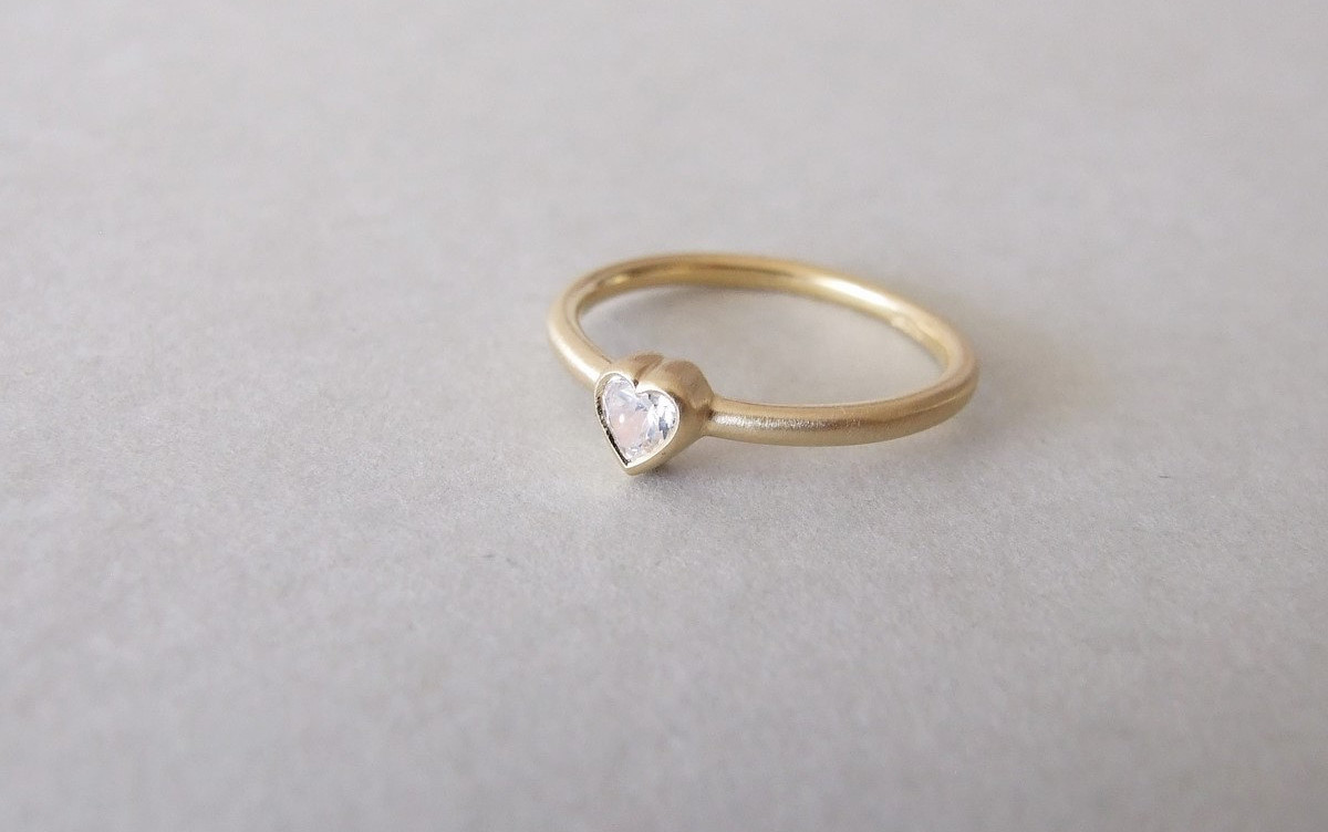 Heart Shape Delicate Engagement Ring