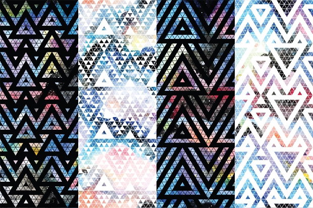 Geometric Galaxy Seamless Pattern
