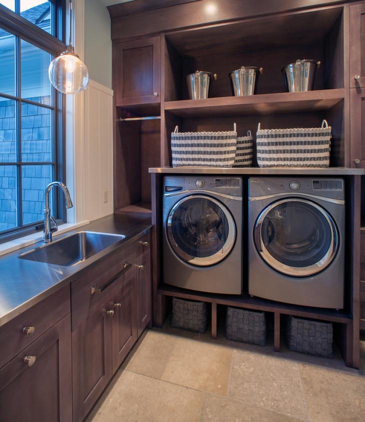 laundry room hardwood shelving