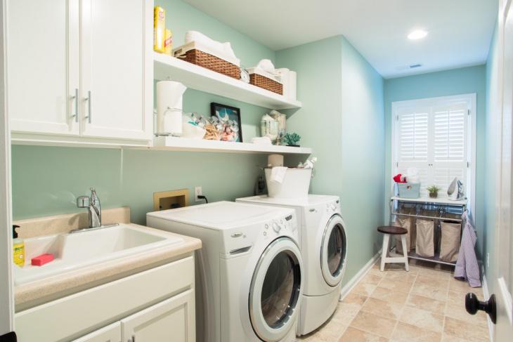 laundry room floating shelves
