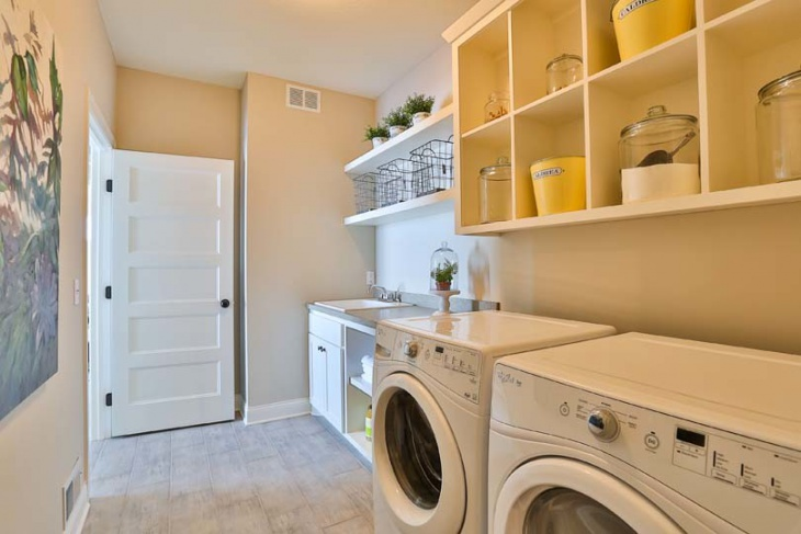 16 laundry room shelving designs ideas design trends for Open laundry room ideas